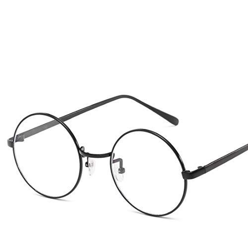 Mkulxina Anti-Blue-Light-Brille Retro Runde Metall Unisex Flache Brillen für Frauen Männer (Color : Black, Design : Clear Lens)