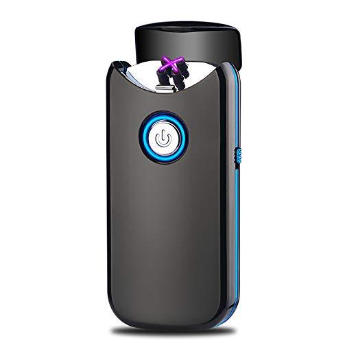 Encendedor Electrico,Modesty Mechero Electrico Doble Arco USB, Tapa abierta automáticamente, Mechero Recargable de Plasma Sin Llama (Negro) - EC003