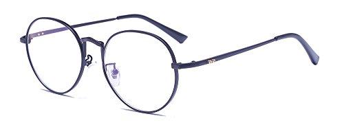 ALWAYSUV Runde Rahmen Hoch Steg Klare Gläser Metallgestell Klassische Vintage Brillenfassung Dekobrille