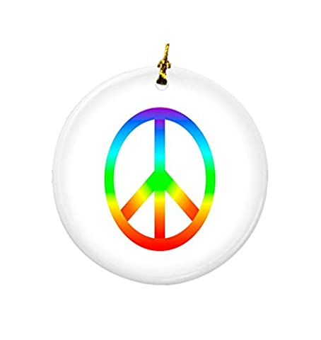 Rikki Knight Rainbow Peace Sign Design Round Porcelain Two-Sided Christmas