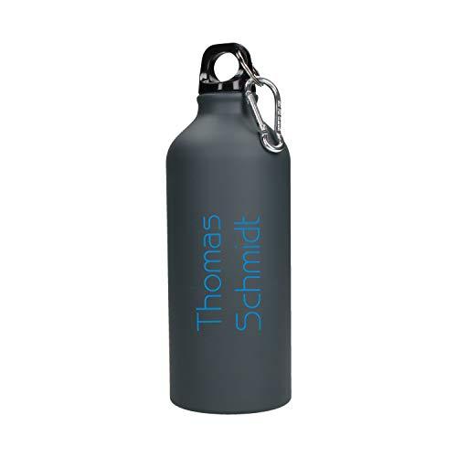 te Trinkflasche mit Namen 0,6l aus Aluminium inkl. LASERGRAVUR in Farbe Sportflasche mit Wunschgravur Einzigartig auf Amazon (Gungrey-Blue) ()