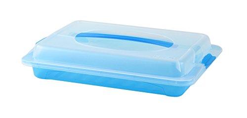 Rotho 1726206644 Partybutler Partycontainer John klein aus Kunststoff (PP), mit Deckel und Tragegriff, BPA- und schadstofffrei, circa 37 x 26 x 7 cm (LxBxH), transparent/blau