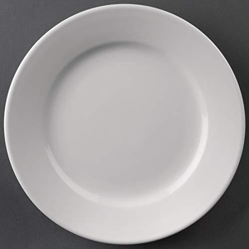 Athena Création Assiette à bord large-Plat à servir de table à manger Dishware nourriture maison Restaurant de cuisine et de table Cafe Buffet 165 mm (Ø 165 mm/6 1/2, blanc. Pack quantité: 12.