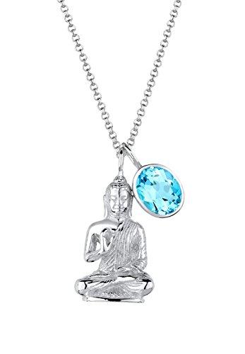 Elli Damen-Halskette Buddha Hellblau Karma 925 Silber Topas blau Brillantschliff 80 cm - 0102411915_80
