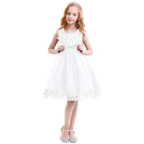 OBEEII Bambine Ragazze Fiore Pizzo Abito Lungo Senza Maniche Elegante  Princess Tulle Abito da Nozze Sposa 37c3dfea1bc