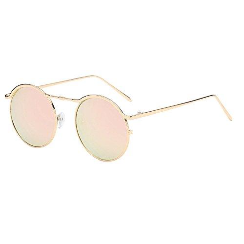 FRAUIT Unisex Retro Runde Sonnenbrille Unisex Klassiker Ovale Brillen Für Frauen Und Männer Retro Vintage Sonnenbrille, Inspiriert Von John Lennon, polarisiert mit rundem Metallrahmen