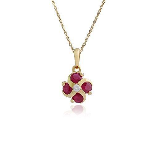 Gemondo Collar Rubí, 9ct oro Amarillo 0.97ct rubí y diamante floral colgante en 45cm cadena