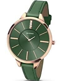Sekonda Editions Analogue Green Dial Rose Gold Case Green Strap Ladies Watch 2249