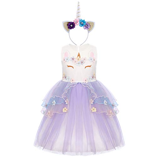 OBEEII Einhorn Kostüm Sommer Kleider Mädchen Festlich Cosplay Party Prinzessin Tutu Rock für Festival Karneval Geburtstag Performance Halloween Fotoshooting Violett 3-4 Jahre