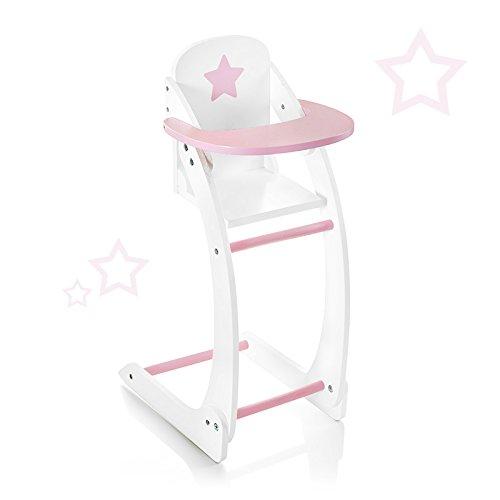 *SUN Puppenhochstuhl Sternchen aus Holz Hochstuhl für Puppe (Weiß-Rosa)*