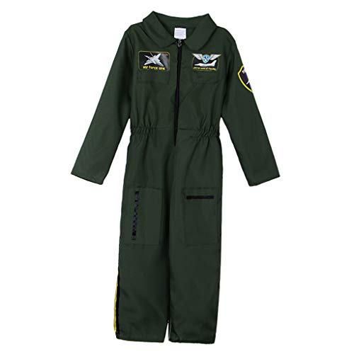 P PRETTYIA Kinderkostüm Pilot Flieger Pilotenanzug Overall Halloween Kinder Rollenspiel Spielanzug Bekleidungsset - ()