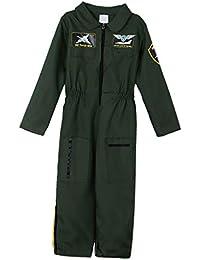P Prettyia Traje de Niños Fuerza Aérea Traje de Piloto Halloween Aviador Transpirable Aradable Tejido Ropa