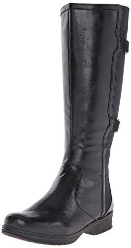 Life Stride Venture Damen Breit Rund Kunstleder Mode-Knie hoch Stiefel Black Athena