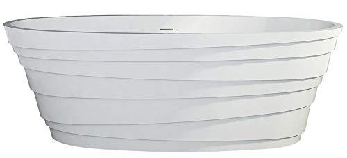 Freistehende Badewanne aus Mineralguss ATHENE STONE weiß - 180 x 85cm - Solid Stone (Stone Freistehende Badewanne)