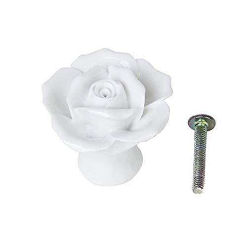 MICHAELA BLAKE Keramik-Knopf Rosen-Blumen-Set Schublade Schrank Schrank Mit Schraube DIY Küchenmöbel Weiß Carry Werkzeuge Griff