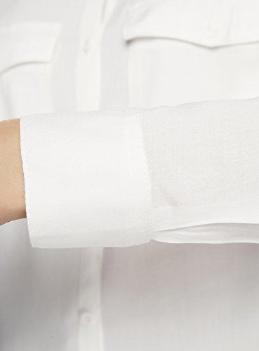 oodji Ultra Damen Viskose-Bluse Basic Weiß (1200N)
