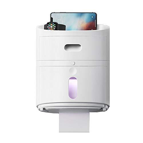 VIVIANE Kreative Antioxidans-UV-Hand, Die Toilettenpapier-Tuch-Kästen, Selbstklebende wasserdichte Haushalts-Rollenpapier-Toilettenpapier-Toiletten-Karton-Regal Pumpt (Color : White) -