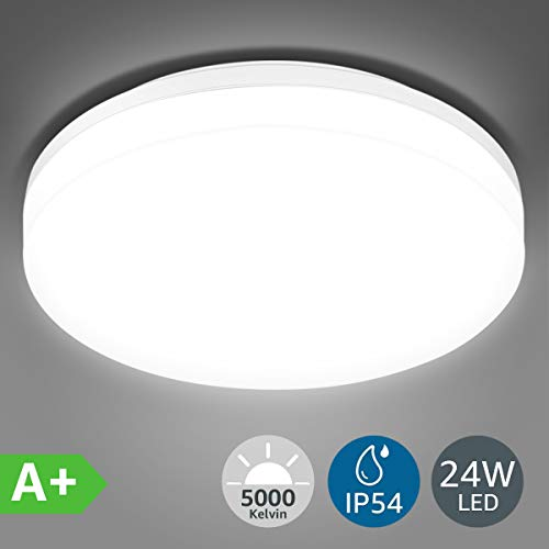 LE 24W Lámpara LED de Techo Plafón LED de Baño Impermeable IP54...