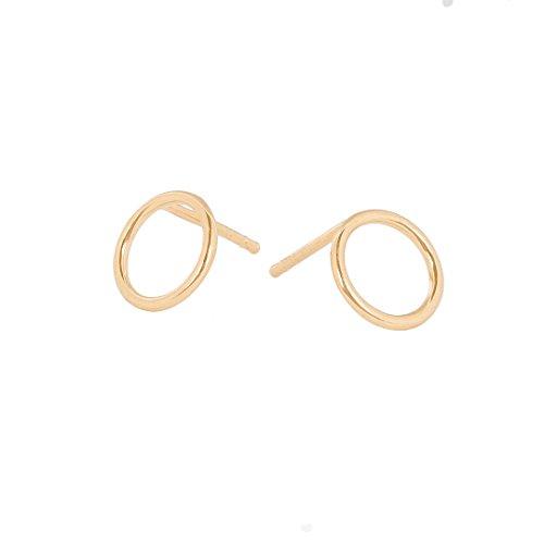 (Pernille Corydon Damen Ohrstecker HALO Gold kreis-runde Stecker Ring Stecker 925er Sterling Silber vergoldet - E610g)