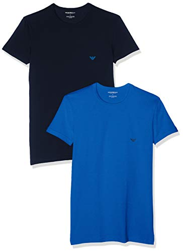 e1742e4685 Emporio Armani Men's 2 Pack crew neck T-shirt, Multicolour (Onda/Marine