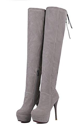 YE Damen Winter Wildleder Over Knee Schnürstiefel High Heels Plateau Warm Gefüttert Boots mit Fell 13cm Absatz Roter Sohle Reißverschluss Grau