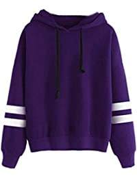 f28d9f3ee0a151 Leey Damen Pullover Streifen Casual Mädchen Kapuzenpullover Hoodie  Sweatshirt Hoodies Elegant Kleidung Pullis Sweatshirt…
