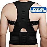 BFIT USA Unisex Magnetic Fully Adjustable Support Back Brace Posture Corrector, L/XL (Black)