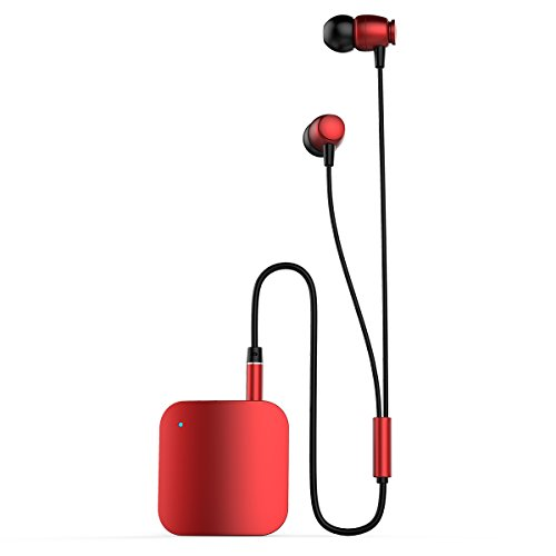 Yigenet Bluetooth V4.1 Kopfhörer Musik Receiver Stereo-Ohrhörer 3,5 mm Klinke In-Ear Audio Earbuds Clip-on Kragen Freisprecheinrichtung Headsets Lange Standby Zeit - Rot (Surround-sound-system-clips)