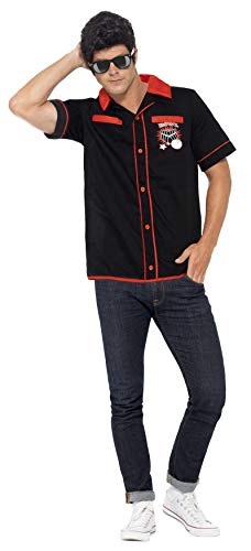Smiffys, Herren 50er Bowling Shirt Kostüm, Hemd, Größe: M, 22432