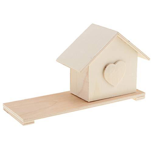 MagiDeal Super Licht Kinder Holz Handwerk Malerei Dekoration Geschenk Spielzeug - Haus Spar-Box - Unfinished Handwerk Holz Box