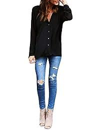 Chemise Femme Manche Longue Grande Taille Chic Fille Mode Chemisier Blouse  Tops Haute Haut Sweatshirt Sweat-Shirt T-Shirt Tee Retro… 737b930d1b0