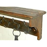 RusticWoodenCrafts Handmade Reclaimed wood Cottage Country Vintage style Hat & Coat Rack shelf 6 hooks = 88cm
