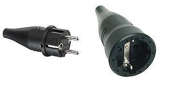 Gummi-SCHUKO-Stecker IP44 & Gummi-SCHUKO-Kupplung IP20 schwarz SET / ag-electronics