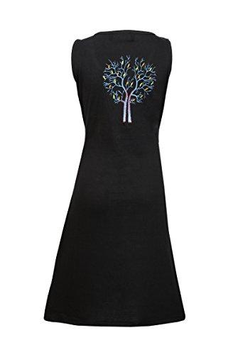 Damen ärmelloses Kleid mit Zweigen des Winters Baum Print-Design�?Schwarz