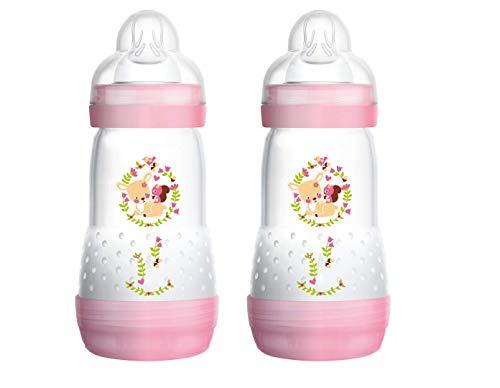 MAM 99921522 - Easy Start Anti-Colic 260 ml, Babyflasche, Doppelpack, für Mädchen, Rosa