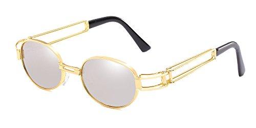 BOZEVON Retro UV400 Herren Doppelte Metall Rahmen Oval Sonnenbrille Schutzbrillen Gold-Weißes Quecksilber