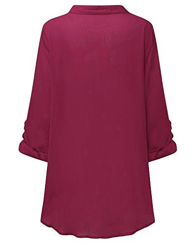 StyleDome Damen Locker/Chiffon Bluse Tiefe V Ausschnitt Shirt Langarm/Kurzarm Beiläufige T-shirt Solide Oversize Tops Weinrot
