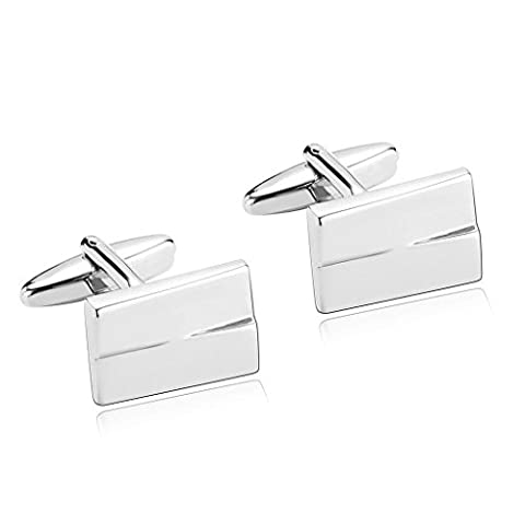 Daesar Men's Stainless Steel Cuff Links Silver Rectangle Cufflink