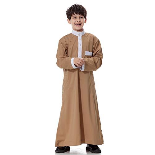 Kaffee Kleidungsstück (Scrolor Islamische muslimische Dubai Robe für Jungen Mans Langarm Solide Saudi Arabisch Kleidungsstück(Kaffee,XXL/48))