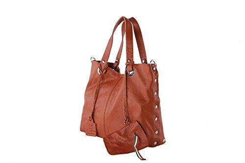 Anna Cecere - Borsa shopper in pelle con tracolla, porta iphone in pelle - Rosso