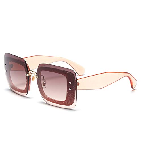 WULE-Sunglasses Unisex Shiny Clear Frame Übergroße Persönlichkeit UV-Schutz Große Vollformat-Sonnenbrille Für Frauen Männer Outdoor Driving Reisen. (Farbe : Orange)