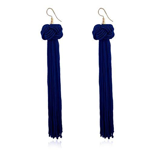 Frauen Modeschmuck Ohrring Frauen Woven lange verknotete Quaste Ohrringe Vintage böhmischen handgewebte Ball für Frauen Party Geschenke Modeschmuck Schön und attraktiv ( Farbe : Blau )