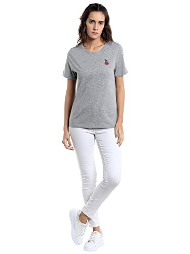 VERO MODA Damen T-Shirt Grau (Light Grey Melange Detail:Cherry Badge)