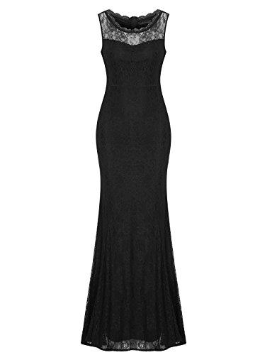 MABELER Damen Elegantes Spitzenkleid Abendkleid Lang Hochzeit Party Rundhals Vintage Kleid Brautjungfernkleid Schwarz