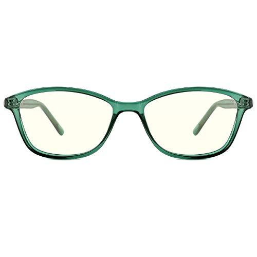 TIJN Blaulichtfilter Gaming Brillen Computer Gläser Vintage Katzenauge Brillenfassung TR90 Rahmen Brille Ohne Stärke für Damen Herren