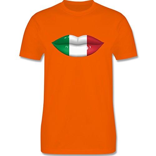 EM 2016 - Frankreich - Lippen Bodypaint Italien - Herren Premium T-Shirt Orange
