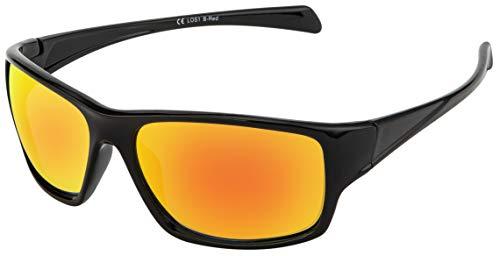 La Optica B.L.M. Sonnenbrille UV400 CAT 3 Unisex Damen Herren Leicht Sport Mountainbike - Einzelpack Glänzend Schwarz (Gläser: Rot verspiegelt)