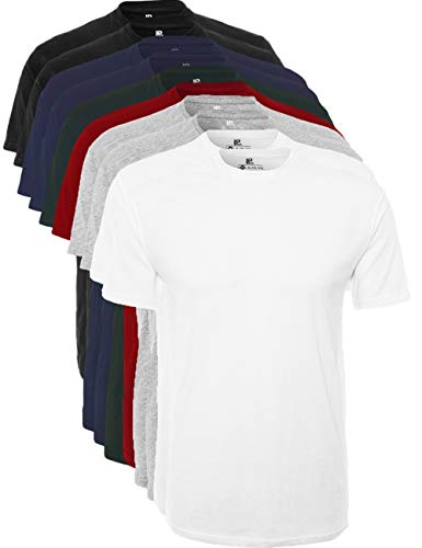 Lower east basic t-shirts con scollo rotondo, pacco da 10, multicolore (schwarz/weiß/navy/grau/rot/grün), x-large