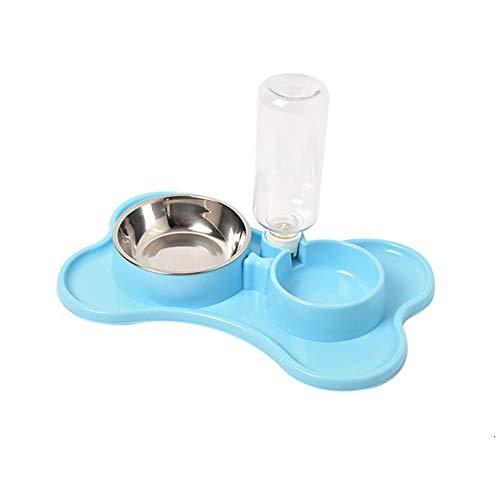 AIMMMY Double Dog Bowls, Hunde & Katzen Doppel Wasser- Und Lebensmittelschalen Set Mit Automatischer Wasserspender Für Kleine Oder Mittelgroße Hunde Katzen,Blau