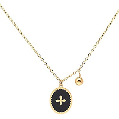 Collier petite Croix en acier inoxydable Blanche ou Noir - Médaille croix émaillée dorée